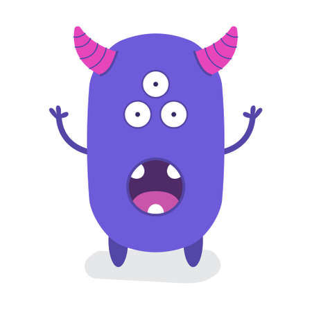 Funny Cute Purple Third Eyes Halloween with horn Flat Design Vector Illustration