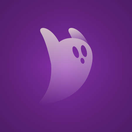 Halloween Transparent White Scary Ghost Run With Purple Background Illustration Mesh Vector