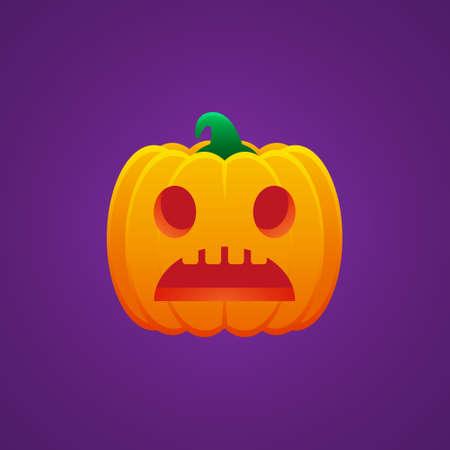 Halloween Jack O Lantern Pumpkin Expression Worried Emoticon Vector Design