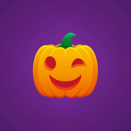 Halloween Jack O Lantern Pumpkin Expression Winking Emoticon Vector Design