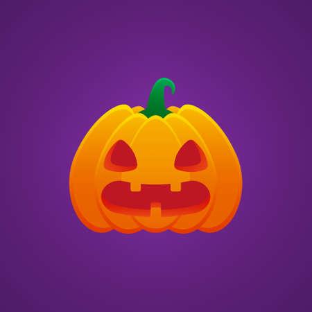 Halloween Jack O Lantern Pumpkin Expression Flushed Emoticon Vector Design