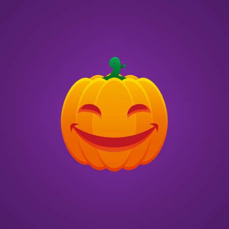Halloween Jack O Lantern Pumpkin Expression Smiling Mouth and Eyes Emoticon Vector Design