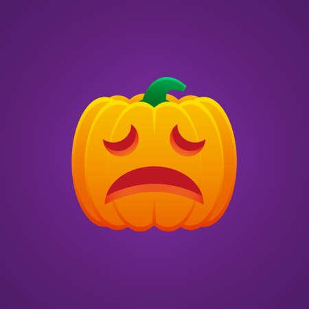Halloween Jack O Lantern Pumpkin Expression Weary Emoticon Vector Design 向量圖像