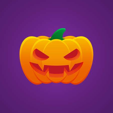 Halloween Jack O Lantern Pumpkin Expression Angry Emoticon Vector Design