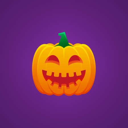 Halloween Jack O Lantern Pumpkin Expression Grin with Smile Eyes Emoticon Vector Design