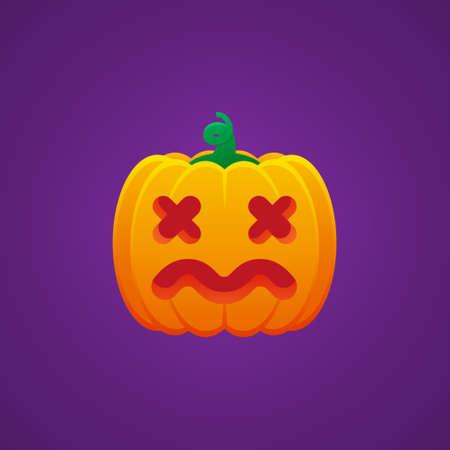 Halloween Jack O Lantern Pumpkin Expression Dizzy Emoticon Vector Design