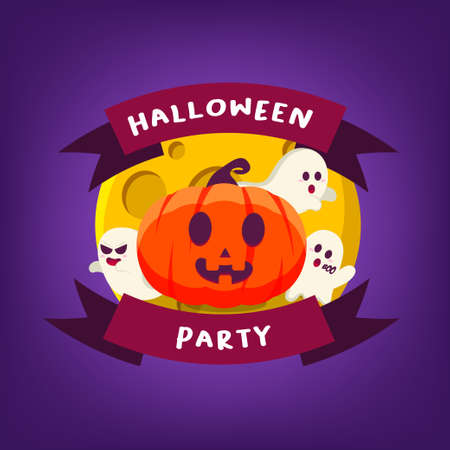 Halloween Party Fun Pumpkin With Three Ghost and Moon Ribbon Poster Illustration Flat Design Vector