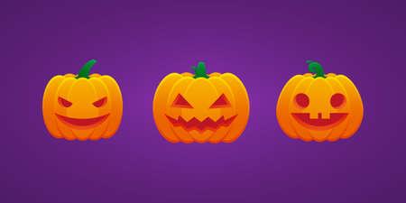 Halloween Jack O Lantern Pumpkin Expression Evil Smile Fool Emoticon Bundle Vector Design