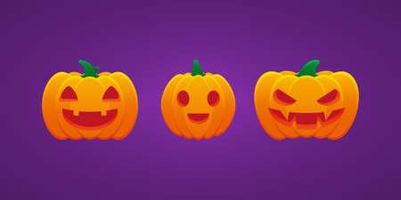 Halloween Jack O Lantern Pumpkin Expression Smiling Mouth Grin Angry Bundle Vector Design 向量圖像