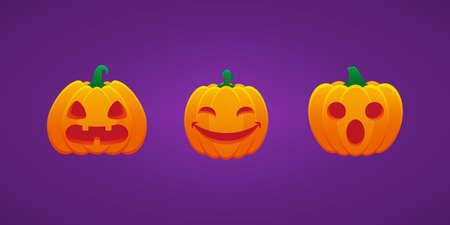 Halloween Jack O Lantern Pumpkin Expression Flushed Hushed Smiling Eyes Bundle Vector Design