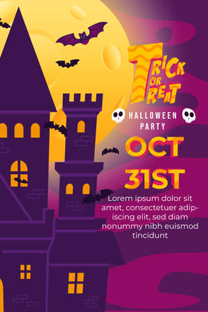 Trick Or Treat Halloween Party with Big Castle, flying bat and full moon at night. can use for poster, flyer, web design, invitation, greeting card
