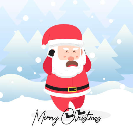santa claus with a scared face and with scene winter landscape.Cute Christmas Character Ilustração