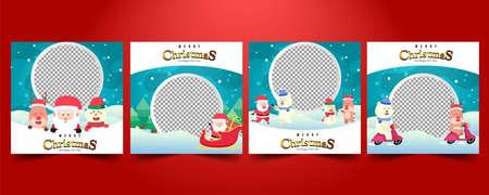 Set Social media post,Christmas sale, greeting card template vector.