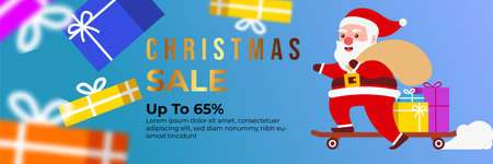 Christmas sale background with Cute Santa Character deliver gift box by riding a Skateboard . banner sale, discount, free delivery. Vector illustration for winter holiday discounts. Ilustração