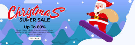 Christmas sale background with Cute Santa Character Deliver gift by using Snow Board. banner sale, discount, free delivery. Vector illustration for winter holiday discounts. Ilustração