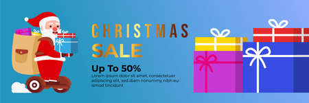 Christmas sale background with Cute Santa Character deliver gift box by riding a hover board. banner sale, discount, free delivery. Vector illustration for winter holiday discounts.
