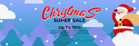Christmas sale background with Cute Santa Claus Character Deliver gift by riding a cloud . banner sale, discount, free delivery. Vector illustration for winter holiday discounts.