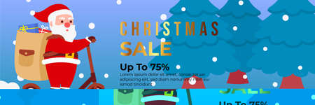 Christmas sale background with Cute Santa Character deliver gift box by riding a scooter. banner sale, discount, free delivery. Vector illustration for winter holiday discounts. Ilustração