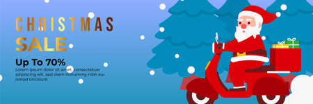 Christmas sale background with Cute Santa Character deliver gift box by riding a motorcycle. banner sale, discount, free delivery. Vector illustration for winter holiday discounts.