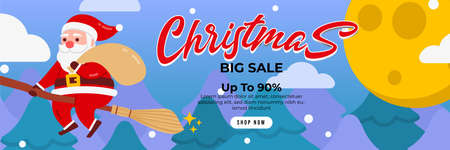 Christmas sale background with Cute Santa Character deliver gift by riding a magic broom stick witch . banner sale, discount, free delivery. Vector illustration for winter holiday discounts. Ilustração