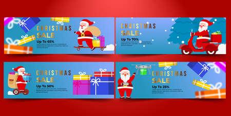 Christmas Banner Sale Bundle with Blue Background Flat Design Vector Ilustração