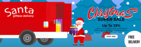 Christmas sale background with Cute Santa Deliver gift box by using truck box. banner sale, discount, free delivery. Vector illustration for winter holiday discounts.