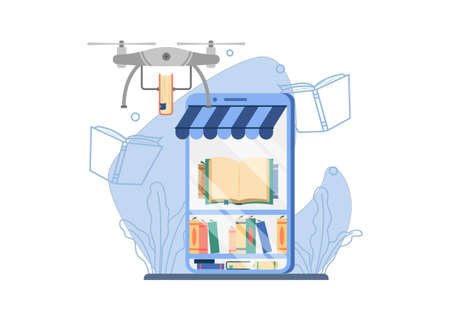 Online Bookstore shipping concept.a drone carrying a book deliver orders online. Concept for a website for an online book store, e-book store, online library and book delivery concept.