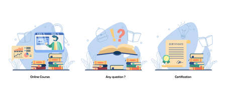 Online Webinar, Q and A, academic achievement icon set. Online Courses, Any Question, Certification. Vector flat design isolated concept metaphor illustrations