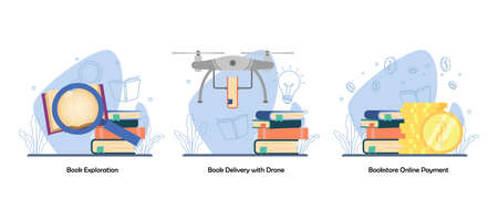 Searching book, Book Delivery, digital bookstore, online payment icon set. Book Exploration, Book delivery with drone, Online Payment. Vector flat design isolated concept metaphor illustrations 向量圖像