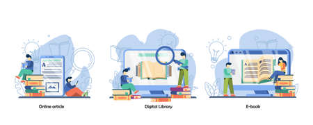 Online reading book, distance education, internet classes icon set. Digital Library, Online Article, E-book.Vector flat design isolated concept metaphor illustrations