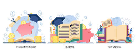 Saving money for education, reward, Distance education icon set. investment in education, scholarship, study literature. Vector flat design isolated concept metaphor illustrations