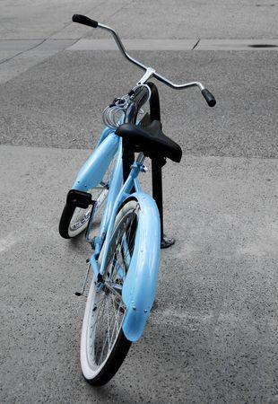 shiny: shiny blue bike in street Stock Photo