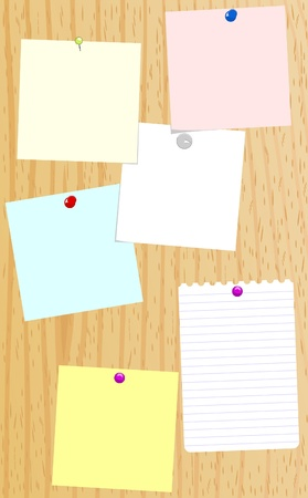 assignment: Sheets of blank paper notices tacked to a board Illustration