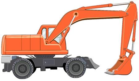 idle: Orange excavator in idle state