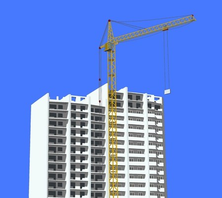 multistory: Construction site with a crane against the blue sky Illustration