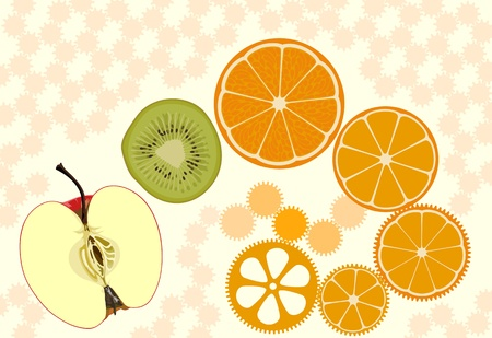 Apple, kiwifruit and orange slices as cogwheels Vector