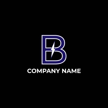 letter b design with ligthning. initial b for business or company