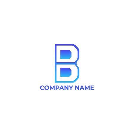 initial letter B  design. b gradient