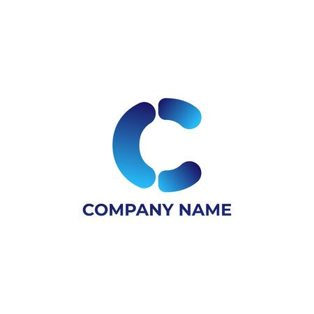 C design with gradient style. initial letter c