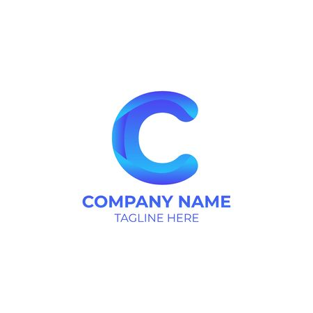 C gradient. initial letter gradient for your company or business