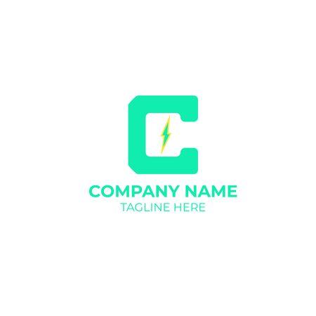 C design. initial letter c with lightning