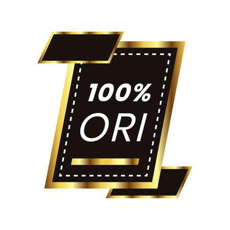 100% original badge. one hundred percent original product tag design. luxury badge original product Ilustração