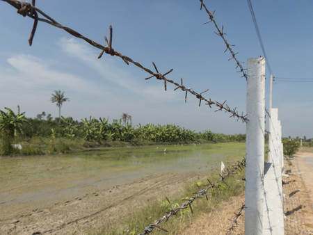 demarcation: Demarcation of Land barbed fence Stock Photo