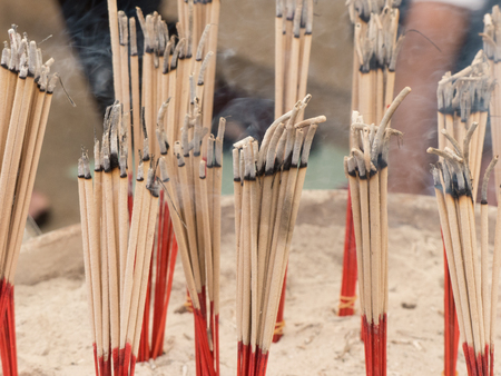 Incense smoke in pots with global warming Stock Photo
