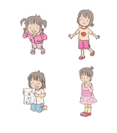 Cartoon Cute Little girl set 1
