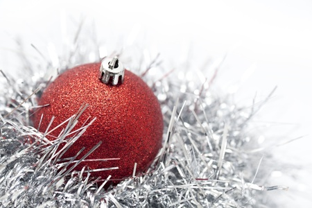 Christmas ball and decoration on white background