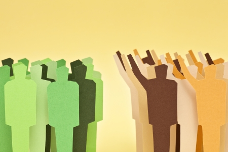 Two groups of different societies on disagreement  Concept of confronted societies Stock Photo - 17059423