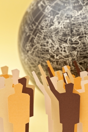 Two groups on disagreement with the Earth on the background  Concept of global   international disagreement