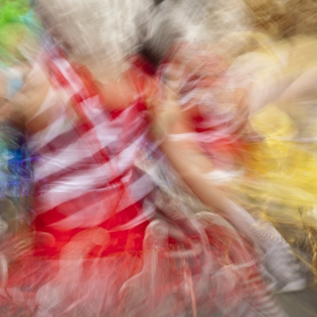 Blurred view of a carnival performance