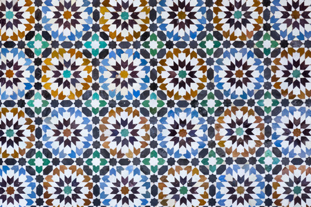 moroccan culture: Traditional Moroccan mosaic tiled wall.